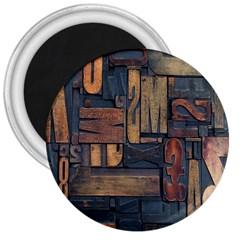 Letters Wooden Old Artwork Vintage 3  Magnets