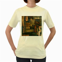 Letters Wooden Old Artwork Vintage Women s Yellow T-Shirt
