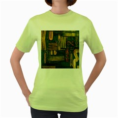 Letters Wooden Old Artwork Vintage Women s Green T-Shirt