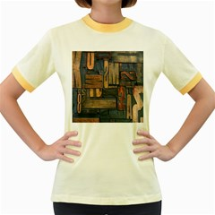 Letters Wooden Old Artwork Vintage Women s Fitted Ringer T-Shirts