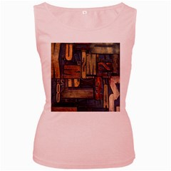 Letters Wooden Old Artwork Vintage Women s Pink Tank Top