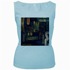 Letters Wooden Old Artwork Vintage Women s Baby Blue Tank Top