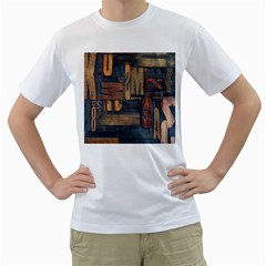 Letters Wooden Old Artwork Vintage Men s T-Shirt (White) (Two Sided)