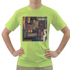 Letters Wooden Old Artwork Vintage Green T-Shirt