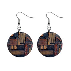 Letters Wooden Old Artwork Vintage Mini Button Earrings