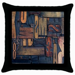 Letters Wooden Old Artwork Vintage Throw Pillow Case (Black)