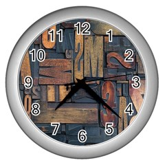 Letters Wooden Old Artwork Vintage Wall Clocks (Silver)
