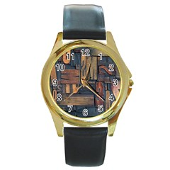 Letters Wooden Old Artwork Vintage Round Gold Metal Watch