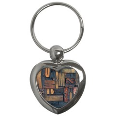 Letters Wooden Old Artwork Vintage Key Chains (Heart)