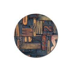 Letters Wooden Old Artwork Vintage Magnet 3  (Round)