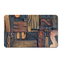 Letters Wooden Old Artwork Vintage Magnet (Rectangular)
