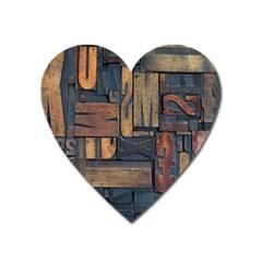 Letters Wooden Old Artwork Vintage Heart Magnet