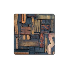 Letters Wooden Old Artwork Vintage Square Magnet