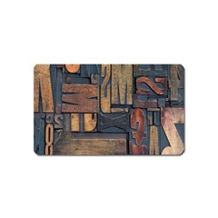 Letters Wooden Old Artwork Vintage Magnet (Name Card)