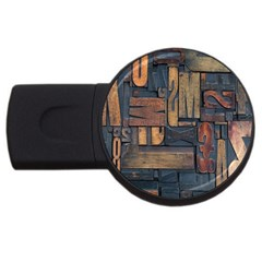 Letters Wooden Old Artwork Vintage USB Flash Drive Round (1 GB)