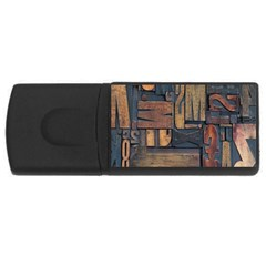 Letters Wooden Old Artwork Vintage USB Flash Drive Rectangular (2 GB)