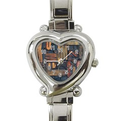 Letters Wooden Old Artwork Vintage Heart Italian Charm Watch