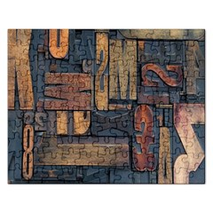 Letters Wooden Old Artwork Vintage Rectangular Jigsaw Puzzl