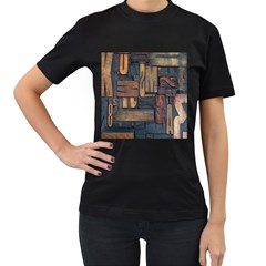 Letters Wooden Old Artwork Vintage Women s T-Shirt (Black) (Two Sided)