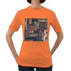 Letters Wooden Old Artwork Vintage Women s Dark T-Shirt