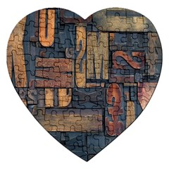 Letters Wooden Old Artwork Vintage Jigsaw Puzzle (Heart)