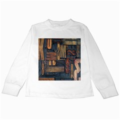 Letters Wooden Old Artwork Vintage Kids Long Sleeve T-Shirts