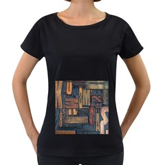 Letters Wooden Old Artwork Vintage Women s Loose-Fit T-Shirt (Black)