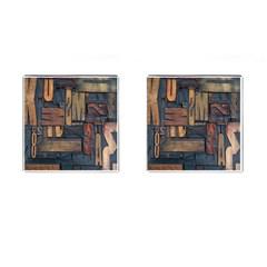 Letters Wooden Old Artwork Vintage Cufflinks (Square)