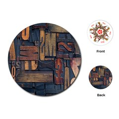 Letters Wooden Old Artwork Vintage Playing Cards (Round)