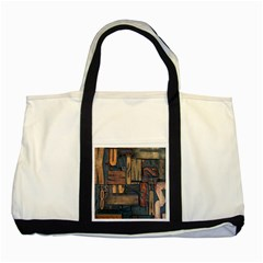 Letters Wooden Old Artwork Vintage Two Tone Tote Bag