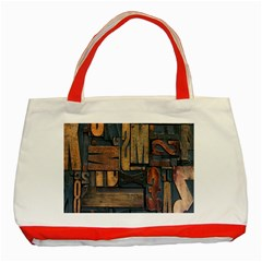Letters Wooden Old Artwork Vintage Classic Tote Bag (Red)