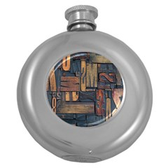 Letters Wooden Old Artwork Vintage Round Hip Flask (5 oz)