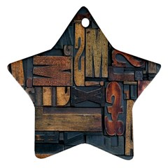 Letters Wooden Old Artwork Vintage Star Ornament (Two Sides)
