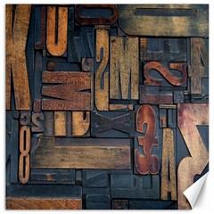 Letters Wooden Old Artwork Vintage Canvas 12  x 12