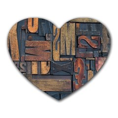 Letters Wooden Old Artwork Vintage Heart Mousepads
