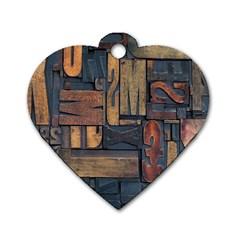 Letters Wooden Old Artwork Vintage Dog Tag Heart (One Side)