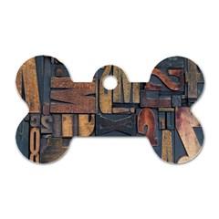 Letters Wooden Old Artwork Vintage Dog Tag Bone (One Side)