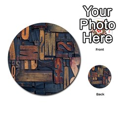 Letters Wooden Old Artwork Vintage Multi-purpose Cards (Round)