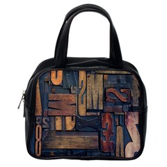 Letters Wooden Old Artwork Vintage Classic Handbags (One Side)