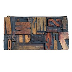 Letters Wooden Old Artwork Vintage Pencil Cases