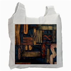 Letters Wooden Old Artwork Vintage Recycle Bag (Two Side)
