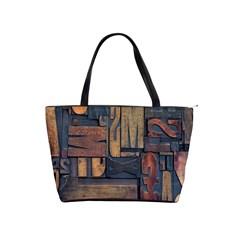 Letters Wooden Old Artwork Vintage Shoulder Handbags