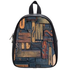 Letters Wooden Old Artwork Vintage School Bags (Small)