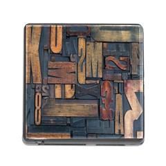 Letters Wooden Old Artwork Vintage Memory Card Reader (Square)