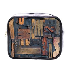 Letters Wooden Old Artwork Vintage Mini Toiletries Bags