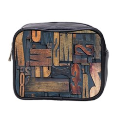 Letters Wooden Old Artwork Vintage Mini Toiletries Bag 2-Side