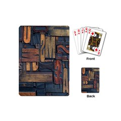 Letters Wooden Old Artwork Vintage Playing Cards (Mini)