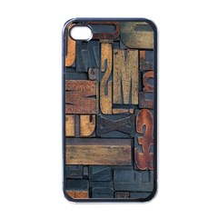 Letters Wooden Old Artwork Vintage Apple iPhone 4 Case (Black)