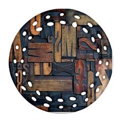 Letters Wooden Old Artwork Vintage Round Filigree Ornament (2Side)