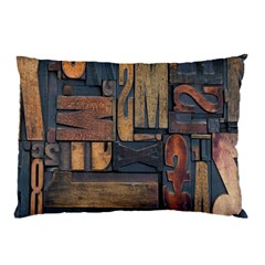 Letters Wooden Old Artwork Vintage Pillow Case (Two Sides)